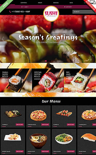 free VirtueMart Theme Sushi